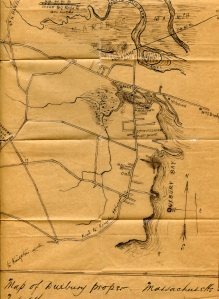 Map showing the cable route into Duxbury, drawn by telegraph operator George Green, 1869.