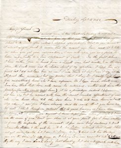 The Drew Archives recently acquired the letter of Sarah F. Sampson to Jacob Smith, Jr. (1836) DAL.SMS.063