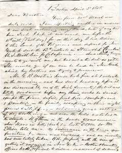 Letter written by Samuel L. Winsor to his brother in 1850 describing the fire at the Weston house.  The letter was recently acquired by the Drew Archival Library