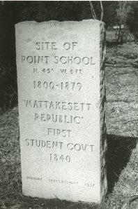 Marker placed at site of school during Duxbury's Tercentenary, 1937