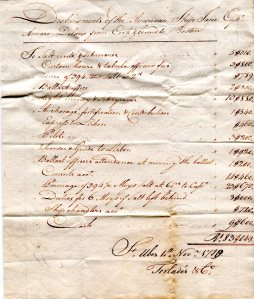 Accounts of ship Jane in the port of St. Ubes, Portugal. Nov, 1788. From Capt. Amasa and Samuel Delano Collection.
