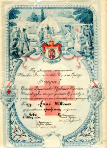Award given to Annie Laurie Williams from Serbian Red Cross, 1920