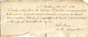 Certificate issued by Town of Duxbury, 1839 stating William P. Webster is qualified to teach.