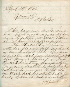 Capt. Edward Baker diary page, April 1865. Capt. Edward Baker Collection.
