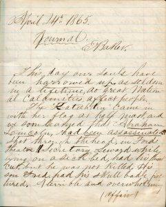 Capt. Edward Baker diary page, April 1865. Capt. Edward Baker Collection.