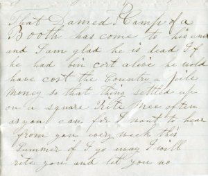 Excerpt from Eden Sampson Letter, April 30, [1865], Cushman Family Collection